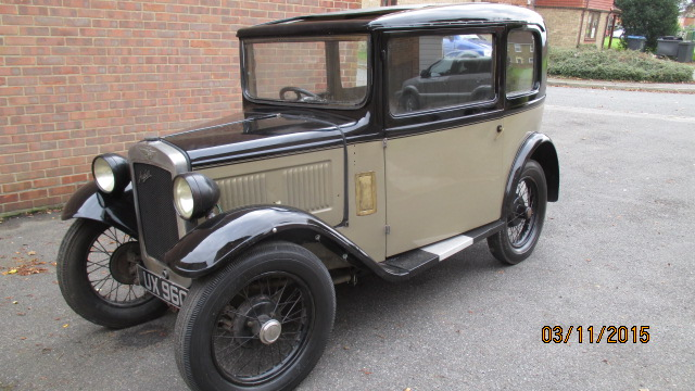 Nellie a beautiful 1932 Austin 7 RN box saloon with stunning paintwork.